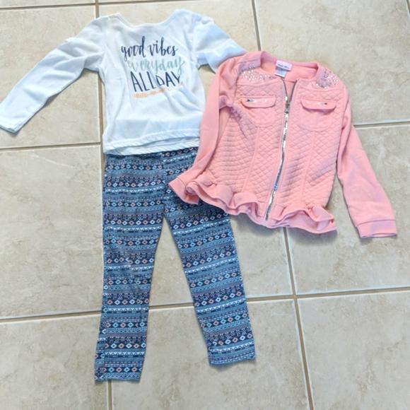 Girls size 6x matching Little Las set pink white